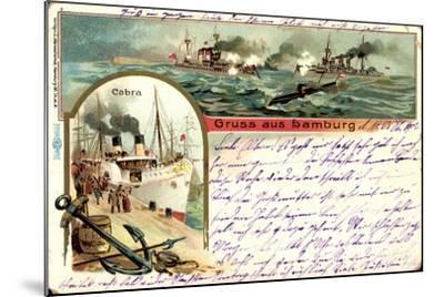 Litho Hamburg, Dampfer Cobra, U Boot, Kriegschiffe--Mounted Giclee Print
