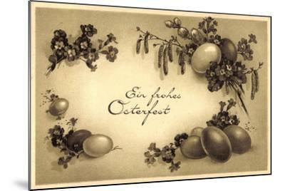Glückwunsch Ostern, Kranz Aus Eiern, Weidenkätzchen--Mounted Giclee Print