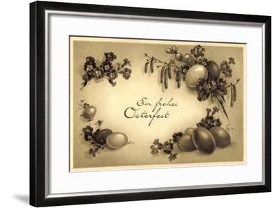 Glückwunsch Ostern, Kranz Aus Eiern, Weidenkätzchen--Framed Giclee Print