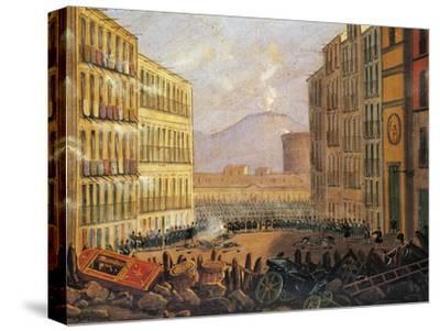 Barricades in Via Santa Brigida in Naples, May 15, 1848--Stretched Canvas Print