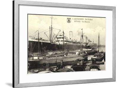 Antwerpen, Belgian Line, Hafen,Dampfer Stadt Brüssel--Framed Giclee Print