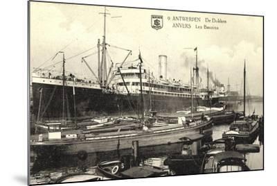 Antwerpen, Belgian Line, Hafen,Dampfer Stadt Brüssel--Mounted Giclee Print