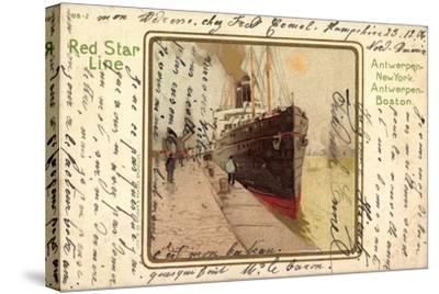 Künstler Litho Red Star Line, Dampfer Im Hafen--Stretched Canvas Print