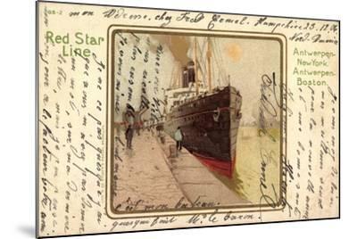 Künstler Litho Red Star Line, Dampfer Im Hafen--Mounted Giclee Print