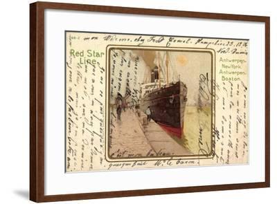Künstler Litho Red Star Line, Dampfer Im Hafen--Framed Giclee Print