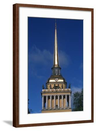 Russia, Saint Petersburg, Historic Centre, Admiralty Building, Detail of Tower--Framed Giclee Print