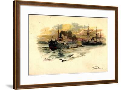 Künstler Litho Nath, F., Eisbrecher Mit Begleitschiff--Framed Giclee Print
