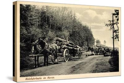 Holzfuhrleute Im Harz, Forstwirtschaft, Holzstämme, Verladen, Pferdekarren--Stretched Canvas Print
