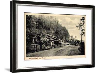 Holzfuhrleute Im Harz, Forstwirtschaft, Holzstämme, Verladen, Pferdekarren--Framed Giclee Print