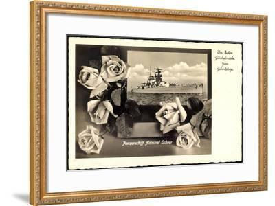 Glückwunsch Geburtstag, Panzerschiff Admiral Scheer--Framed Giclee Print