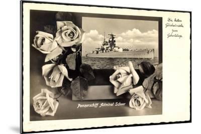 Glückwunsch Geburtstag, Panzerschiff Admiral Scheer--Mounted Giclee Print