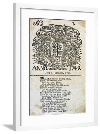 The First Issue of the Danish Newspaper Berlingske Aftenavis, January 3, 1749, Denmark--Framed Giclee Print
