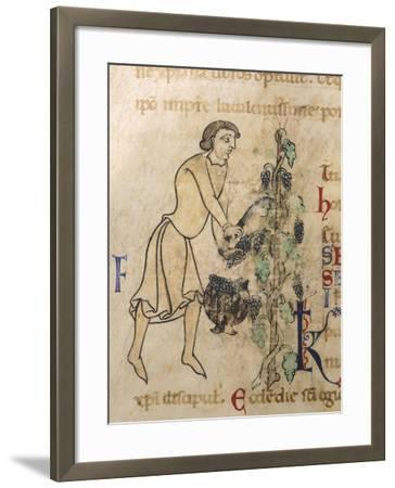 Allegory of September, Miniature from a Martyrology, 12th Century--Framed Giclee Print