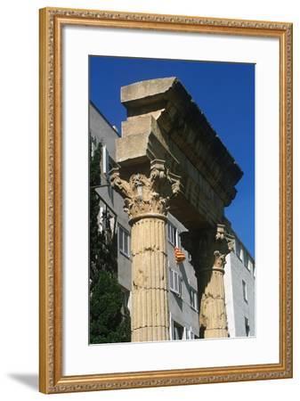 Spain, Catalonia, Tarragona, Ruined Columns at Roman Forum--Framed Giclee Print