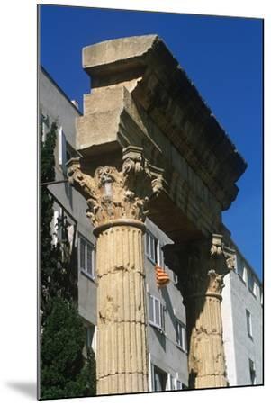 Spain, Catalonia, Tarragona, Ruined Columns at Roman Forum--Mounted Giclee Print