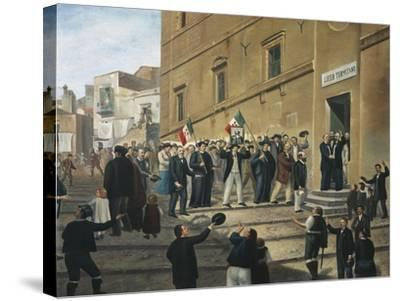 Expedition of Thousand, Masses Celebrate Arrival of Garibaldi's Supporters in Termini Imerese--Stretched Canvas Print