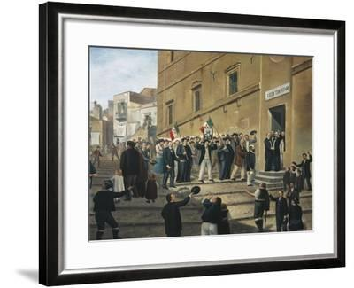 Expedition of Thousand, Masses Celebrate Arrival of Garibaldi's Supporters in Termini Imerese--Framed Giclee Print