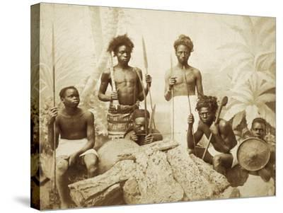 Eritrea, Eritrean Warriors with Spears, Bows and Shields, Circa 1880--Stretched Canvas Print