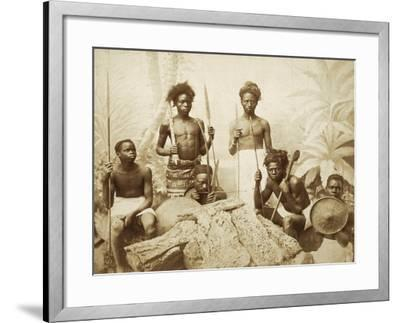 Eritrea, Eritrean Warriors with Spears, Bows and Shields, Circa 1880--Framed Giclee Print