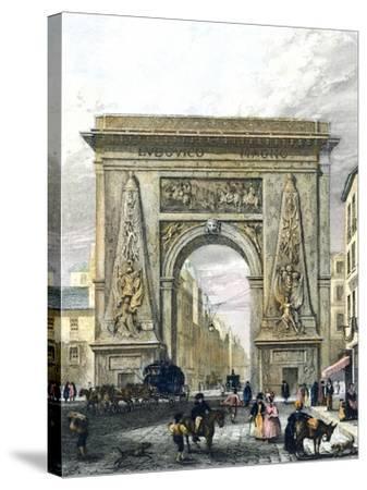 Saint Denis Gate, Paris, France 19th Century Engraving--Stretched Canvas Print