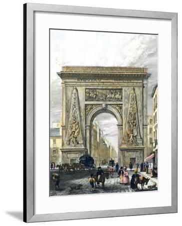Saint Denis Gate, Paris, France 19th Century Engraving--Framed Giclee Print