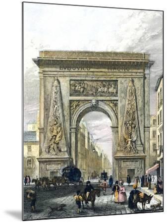Saint Denis Gate, Paris, France 19th Century Engraving--Mounted Giclee Print