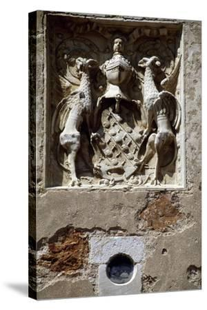 Coat of Arms of Magdelaine-Ragny, Detail from South Facade of Chateau De Corcelles--Stretched Canvas Print