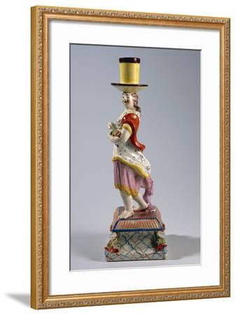 Candlestick Depicting Woman with Fish, Ceramic--Framed Giclee Print