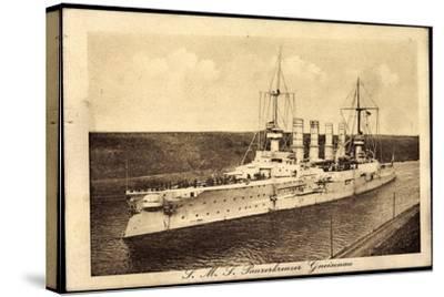 Blick Auf Den Dt. Panzerkreuzer Sms Gneisenau--Stretched Canvas Print