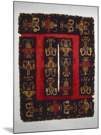 Paracas Culture, Wool Fabric Poncho from Paracas Necropolis, Peru--Mounted Giclee Print