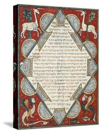 Illuminated Page from the Jewish Bible, Hebrew Manuscript from Cervera, Spain--Stretched Canvas Print