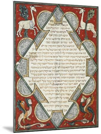Illuminated Page from the Jewish Bible, Hebrew Manuscript from Cervera, Spain--Mounted Giclee Print