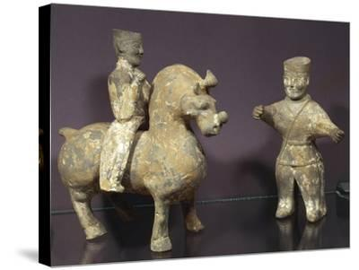 Horse and Rider with Groom, Painted Terracotta Statues, China, Wu Kingdom, 3rd Century--Stretched Canvas Print