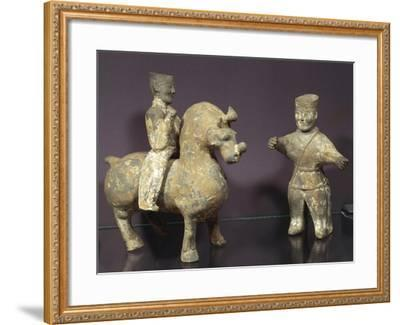 Horse and Rider with Groom, Painted Terracotta Statues, China, Wu Kingdom, 3rd Century--Framed Giclee Print