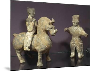 Horse and Rider with Groom, Painted Terracotta Statues, China, Wu Kingdom, 3rd Century--Mounted Giclee Print