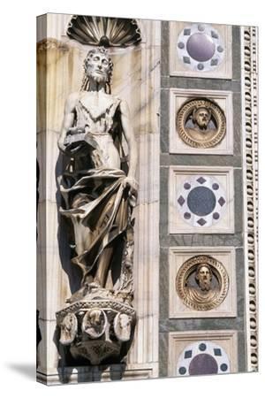 Certosa Di Pavia, Facade, Saint John the Baptist, Sculpture, Pavia, Lombardy, Italy--Stretched Canvas Print