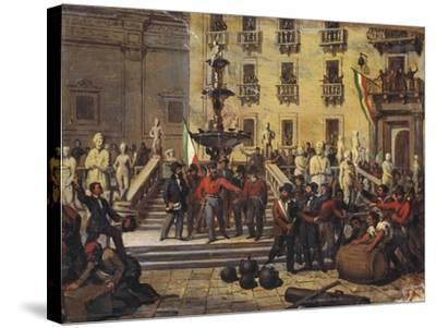 Expedition of Thousand, Giuseppe Garibaldi in Pretoria Square in Palermo, June 1860--Stretched Canvas Print