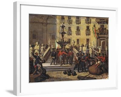 Expedition of Thousand, Giuseppe Garibaldi in Pretoria Square in Palermo, June 1860--Framed Giclee Print