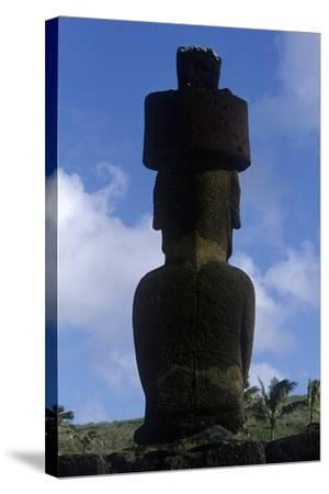 Chile, Easter Island, Rapa-Nui National Park, Anakena Beach, Ahu Nau Nau, Moai Statue, Rear View--Stretched Canvas Print