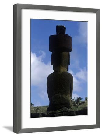 Chile, Easter Island, Rapa-Nui National Park, Anakena Beach, Ahu Nau Nau, Moai Statue, Rear View--Framed Giclee Print