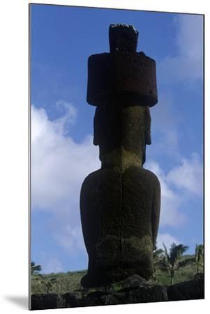Chile, Easter Island, Rapa-Nui National Park, Anakena Beach, Ahu Nau Nau, Moai Statue, Rear View--Mounted Giclee Print