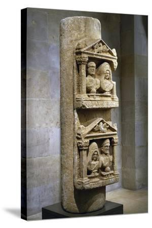 Funerary Stele in Limestone Composed of Two Tabernacles Leaning Against Column--Stretched Canvas Print