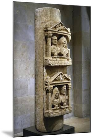 Funerary Stele in Limestone Composed of Two Tabernacles Leaning Against Column--Mounted Giclee Print