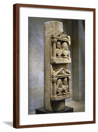 Funerary Stele in Limestone Composed of Two Tabernacles Leaning Against Column--Framed Giclee Print