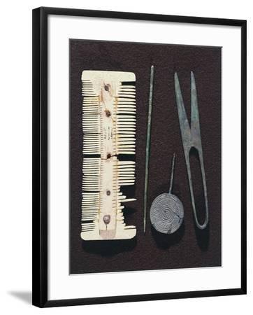 Personal Utensils: Bone Comb, Scissors, Hair Pin--Framed Giclee Print