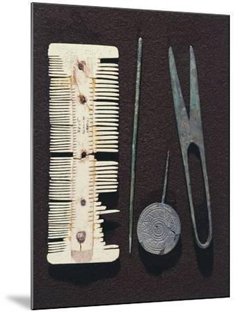 Personal Utensils: Bone Comb, Scissors, Hair Pin--Mounted Giclee Print