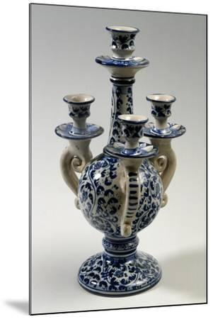 Candelabra with Four Holders with 17th-Century Style Blue Caltagirone Decoration--Mounted Giclee Print