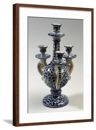 Candelabra with Four Holders with 17th-Century Style Blue Caltagirone Decoration--Framed Giclee Print