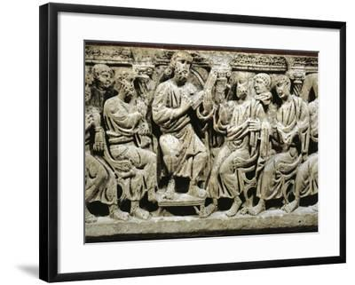 Marble Sarcophagus, Relief Depicting Jesus Christ Teaching Apostles, from Rignieux-Le-Franc--Framed Giclee Print