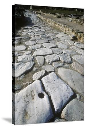 France, Rhone-Alpes, Roman Colony St-Romain-En-Gal, Stone Paved Road--Stretched Canvas Print